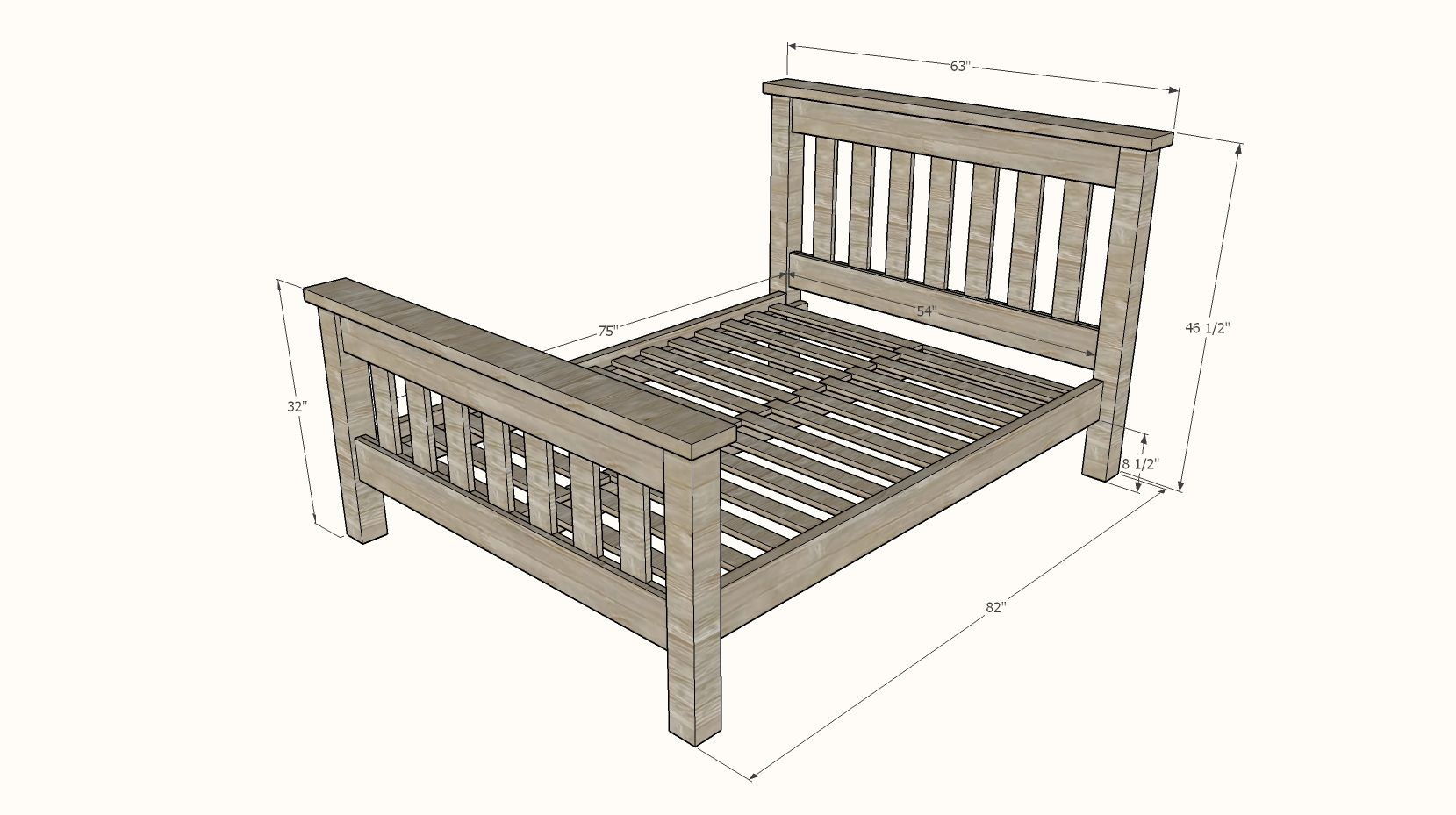 Simple Bed [Full Size Bed Frame] Simple bed, Diy bed