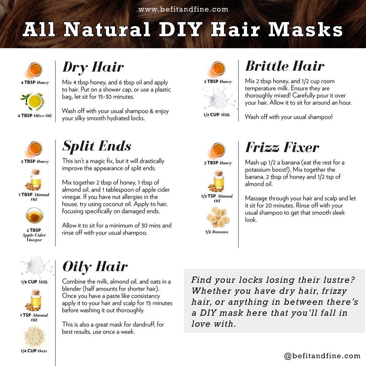 All Natural DIY Hair Masks Dry Hair Split End Oily Hair