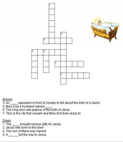 Kids Bible Worksheets Free Printable Birth Of Jesus Christmas Crossword Puzzle Bible Worksheets Birth Of Jesus Christmas Math Worksheets Free bible worksheets for grade