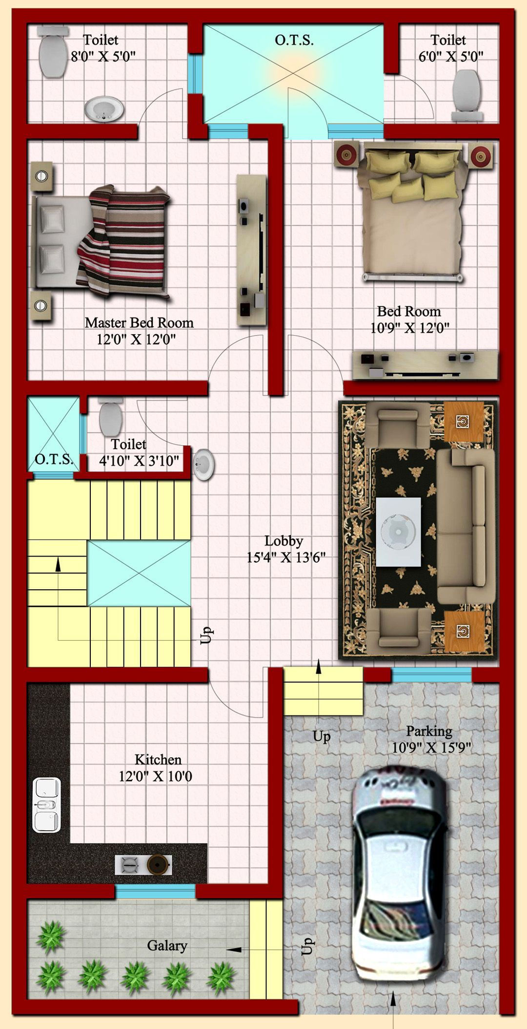 Image result for 2 BHK floor plans of 25*45 | Duplex house ...