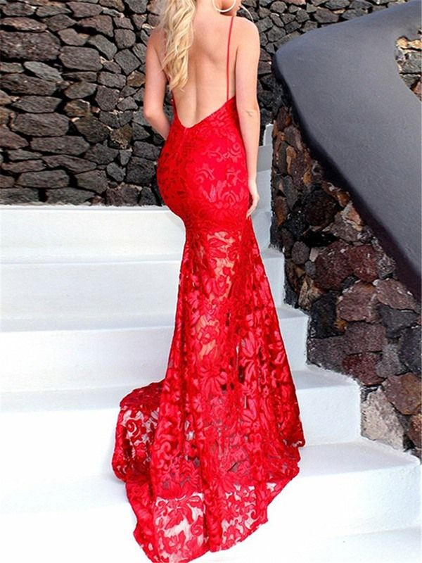 Halter Lace Backless Mermaid Evening Dress