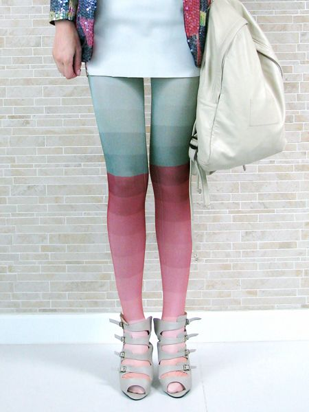 red & blue-green ombre tights - Kron by KronKron