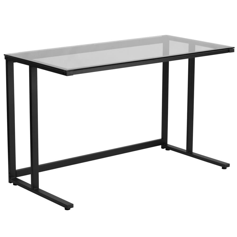 Flash Furniture 47 25 In Clear Modern Contemporary Computer Desk Lowes Com In 2021 Glass Top Desk Glass Desk Glass Computer Desks