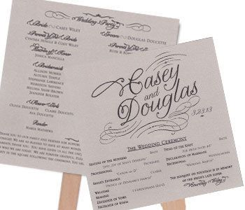 Fan Wedding Program Shimmer Silver Square Printed On Two Sheets Of