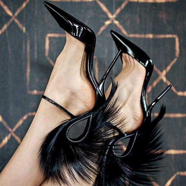 Luxury Designer Shoes   Feather heels