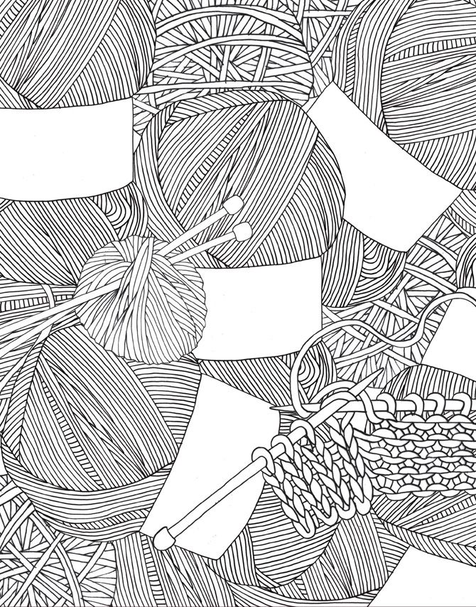 simple contemporary knitting art illustrationCraft - HelloMarine