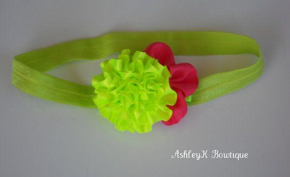 HeadbandNeon Green and Hot Pink satin Flower on by AshleyKBowtique, $5.95