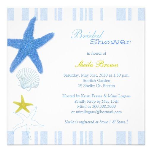 Blue Starfish   Stripes Nautical Bridal Shower Personalized Invitation
