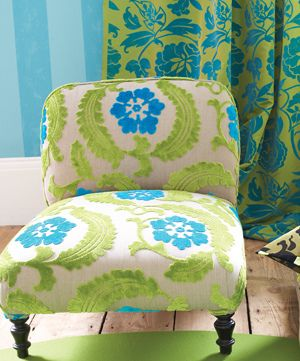 More Designers Guild.  Chair upholstered in Khasikov velvet in moss.  That blue is a nice pop of color! #design #upholstery #chair