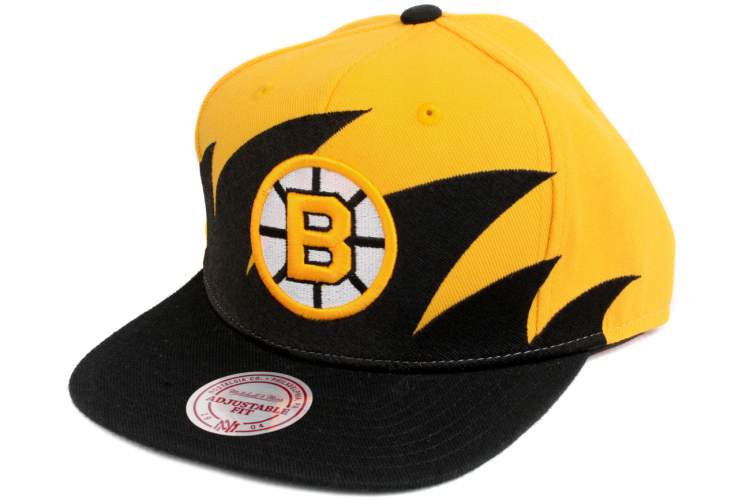 MITCHELL AND NESS Boston Bruins Shark Tooth Snapback Black   Yellow   White 376feebaff8b