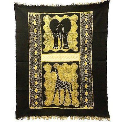 Elephant And Giraffe Batik In Black/White