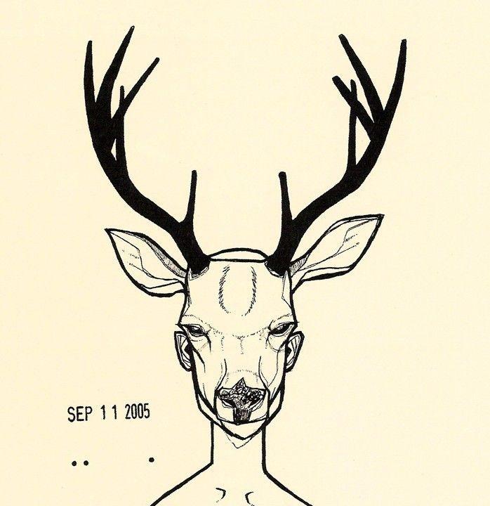 Deer Mask Two Color Woodland Forrest Anthropomorphic Deer Antler Drawing Art Print