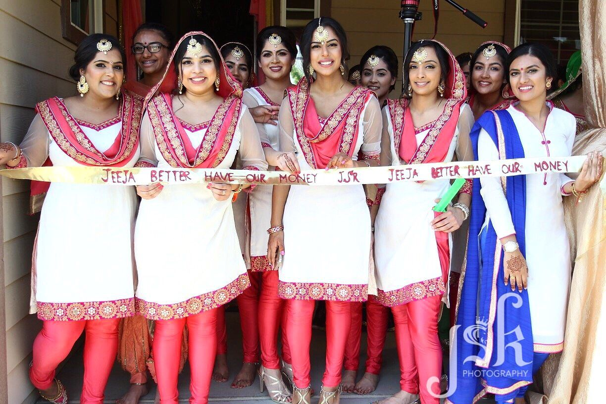 Games At Indian Wedding Jeeja Better Have Our Money By Jsk Photography Bridal Party Outfit Indian Bridesmaids Bridesmaid Outfit