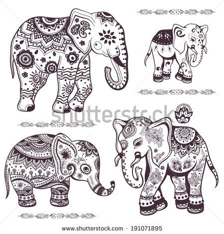 Set of hand drawn isolated ethnic elephants - stock vector | mendie ...