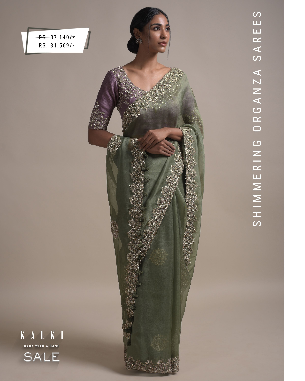 Sage Green Saree In Organza Silk With Sequins And Zardozi