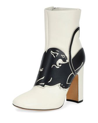 c4435cfa61a Panther+Leather+90mm+Bootie,+White+by+Valentino+Garavani+at+Bergdorf+Goodman .