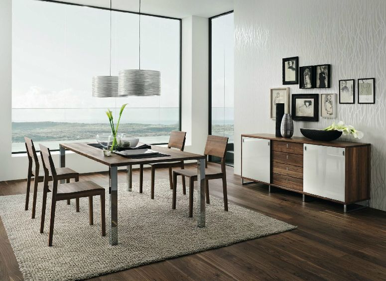 Ideas dark walnut white dining furniture with wooden dining table wooden chairs wooden flooring rug pendant lamp and large glass window contemporary