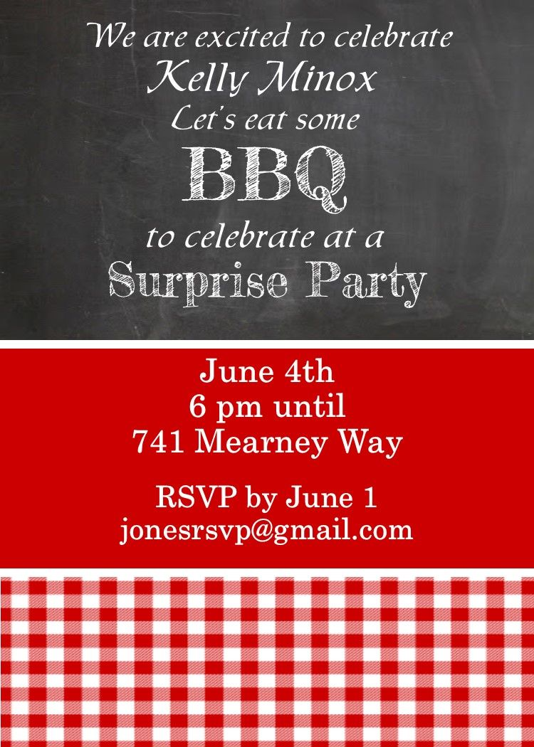 Chalkboard and gingham invitations for a surprise party | Surprise ...