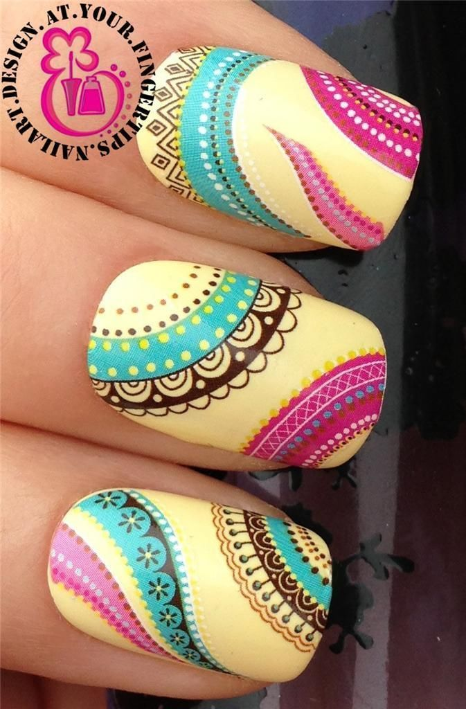 Nail Art Wraps Water Transfers Stickers Decals Deco Set Ethnic Boho ...