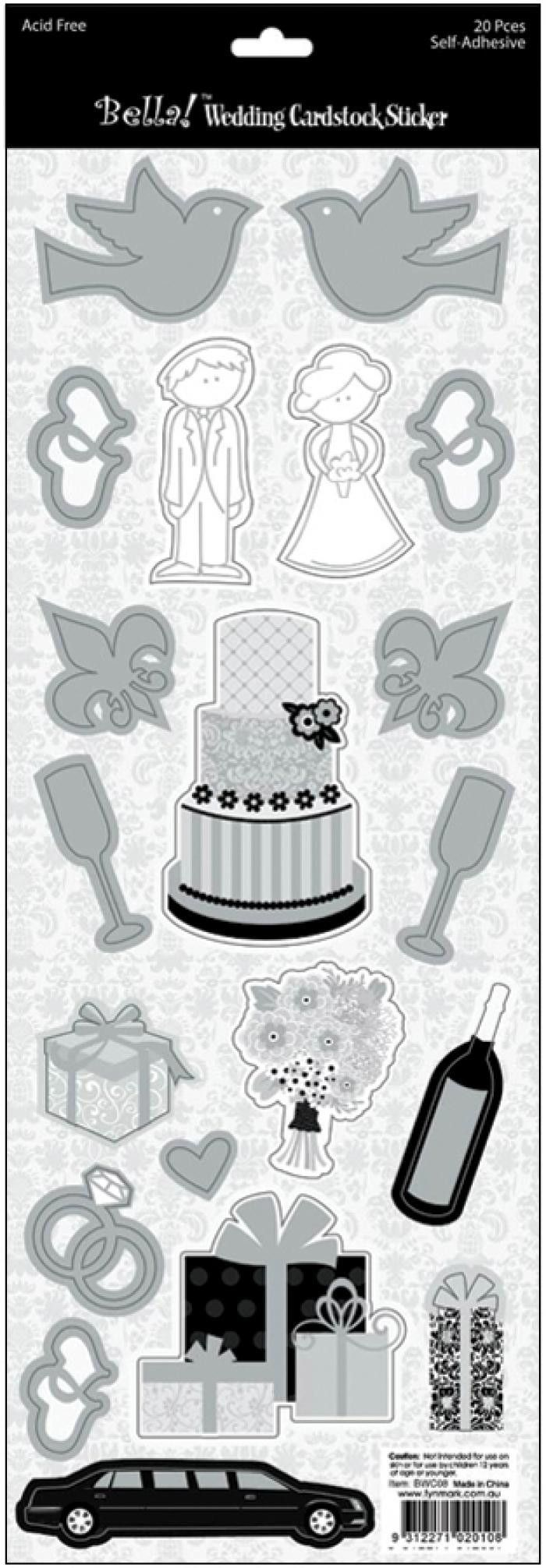 Wedding Foiled Cardstock Stickers Icons/Black & White w/Silver
