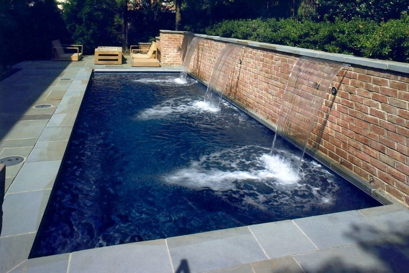 rectangle pool details water feature sheer descent coping flagstone raised - Rectangle Pool With Water Feature