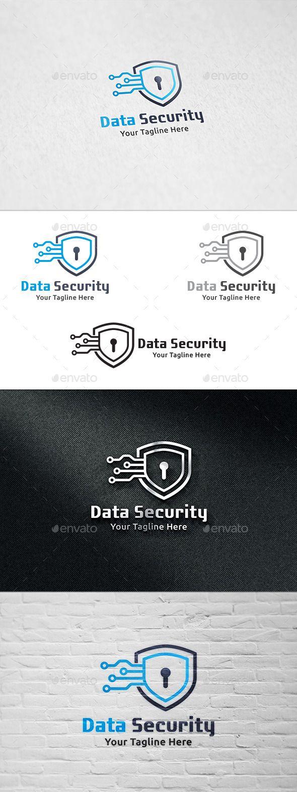 Data Security Logo Template 보안 로고, 로고, 명함