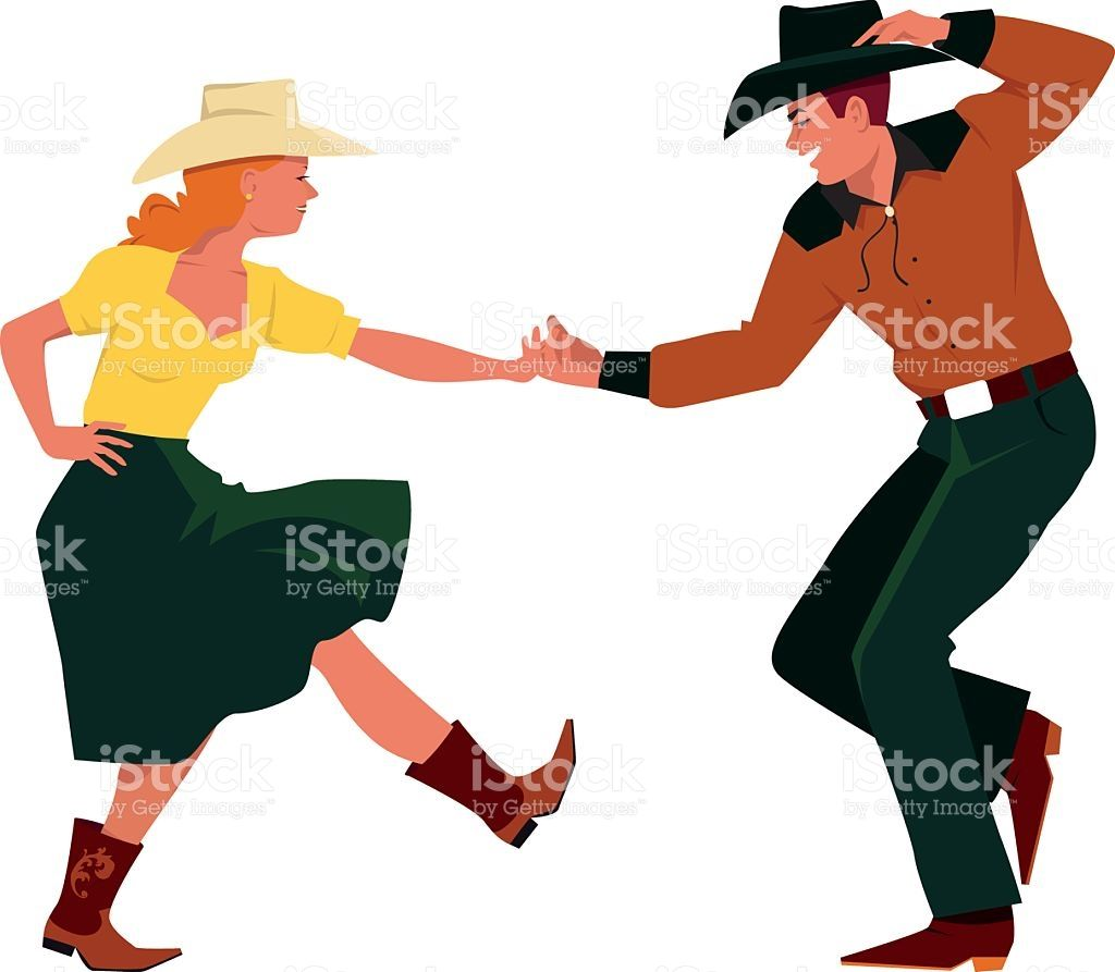 Couple dancing Country Western, front view, EPS 8 vector ...
