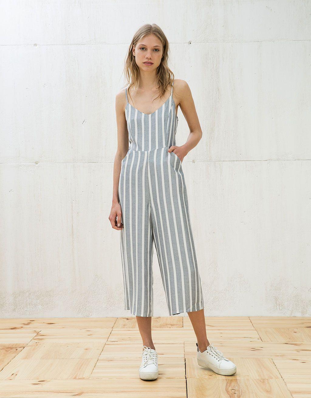 fcead5f708b Strappy striped jumpsuit - Jumpsuits - Bershka United Kingdom