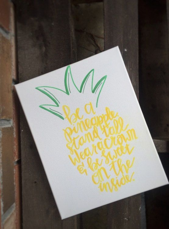 Hand Drawn Canvas Be A Pineapple Watercolor