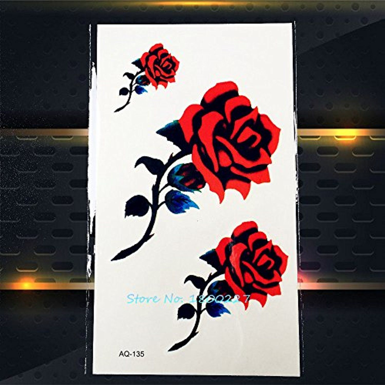 fba434ab047e7 GSN 1PC Sexy Women Makeup 3D Tattoo Stickers PAQ-135 Red Roses Temporary  Tattoo Paste Party Pattern Fake Waterproof Tatoo 2016 >>> Read more at the  image ...