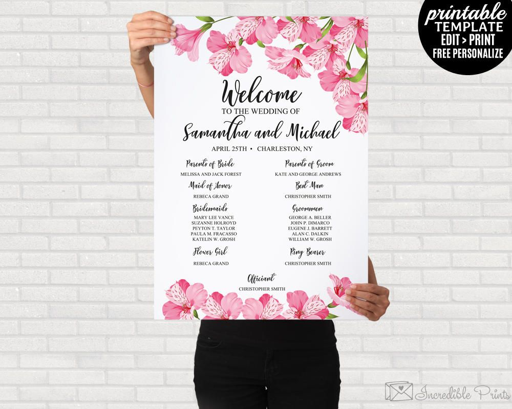 Wedding Welcome Poster Program Sign Stationery Printable Template DIY Ceremony Digital