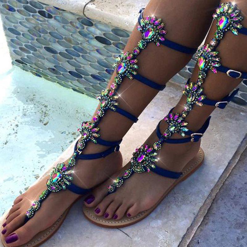 fbdfe78122927 Shoespie Blue Bohemian Rhinestones Thong Gladiator Sandals