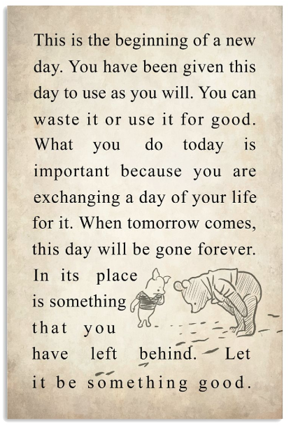 New Day Quote Pooh Quotes Christopher Robin Quotes Winnie The Pooh Quotes