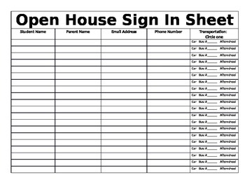 Open House Sign In Sheet  School S Open House And Teacher