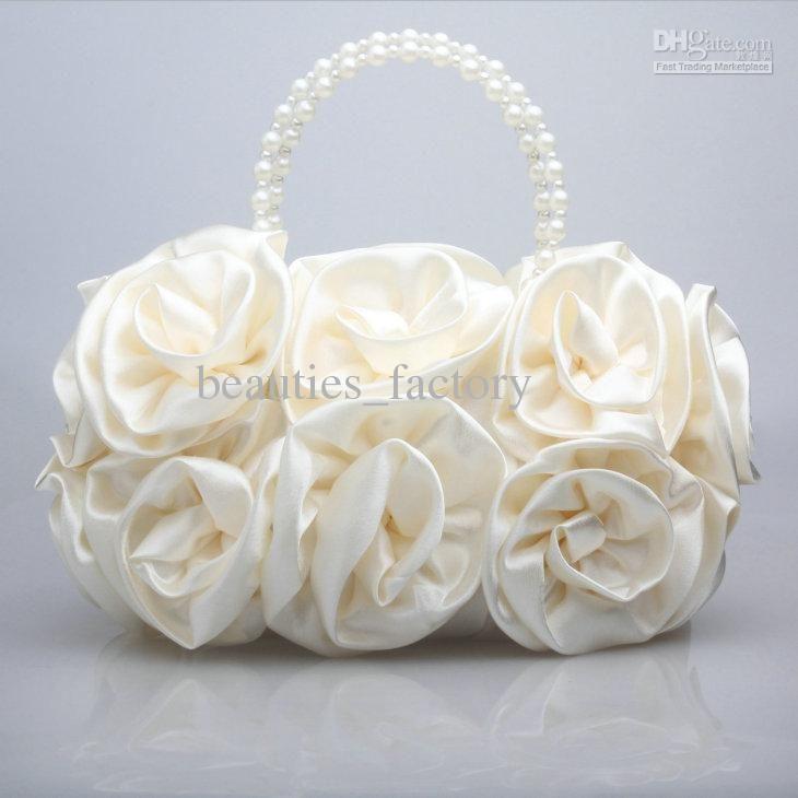 Las Satin Rose Clutch Wedding Party Handbag Evening Flower Bag Choose Colours