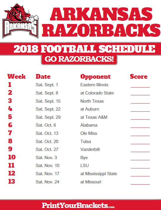 2018 Printable Arkansas Razorbacks Football Schedule Arkansas