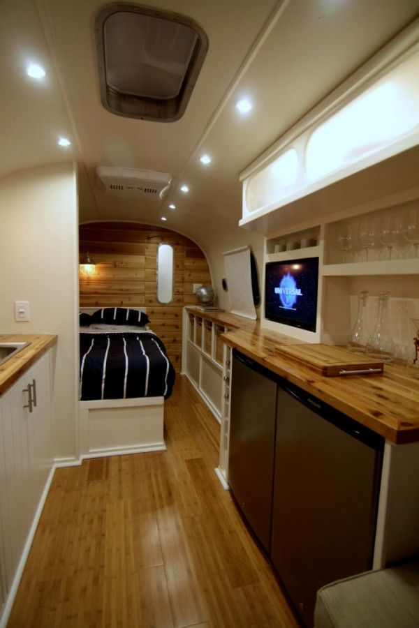 wood counters   goes well with white walls | Airstream