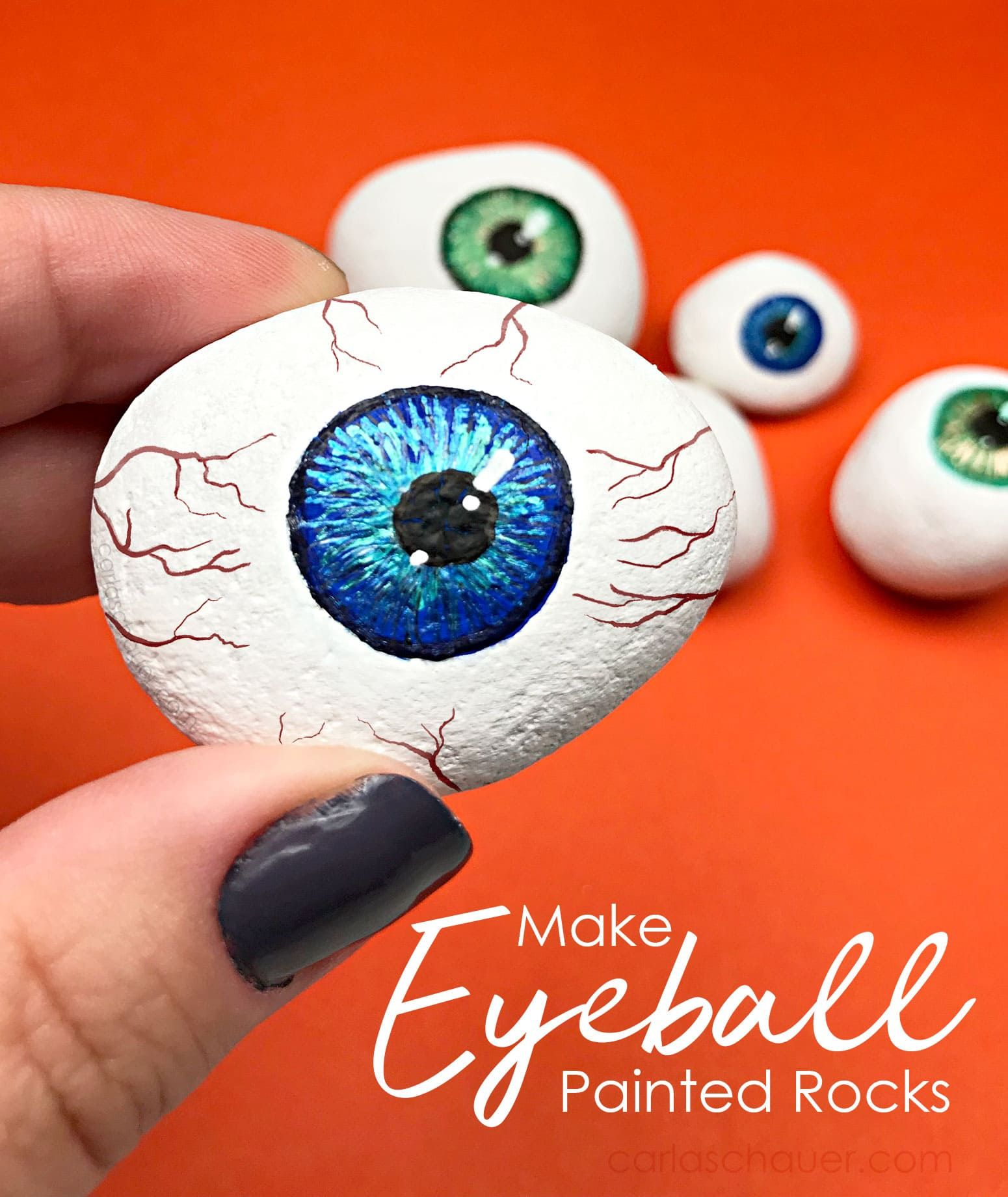 Photo of Halloween Painted Rock Eyeballs