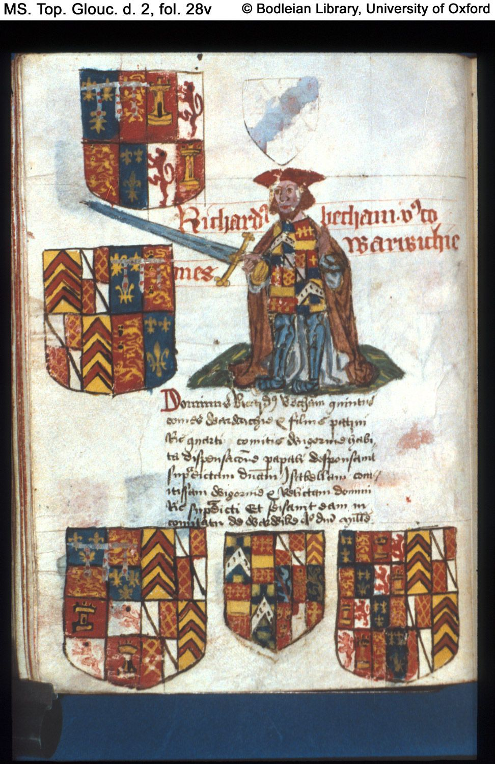 Detail from MS. Top. Glouc. d. 2 Founders' and benefectors' book of Tewkesbury Abbey, in Latin England, Tewkesbury; 16th century, first quarter fol. 28v Richard de Beauchamp, Earl of Warwick. Coats of arms.