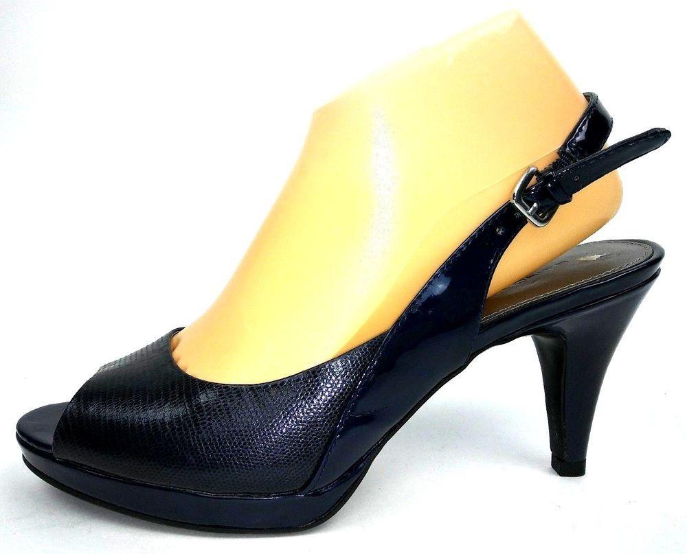 f248ed13e20a Bandolino Women s Malmo Heels Size 9 Navy Blue Slingback Pumps  Bandolino   Slingbacks