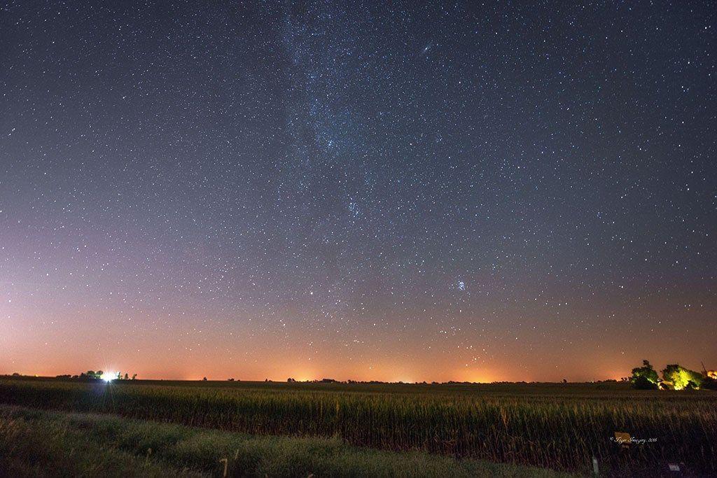 Perseids Meteor Shower over corn field near Quincy, IL