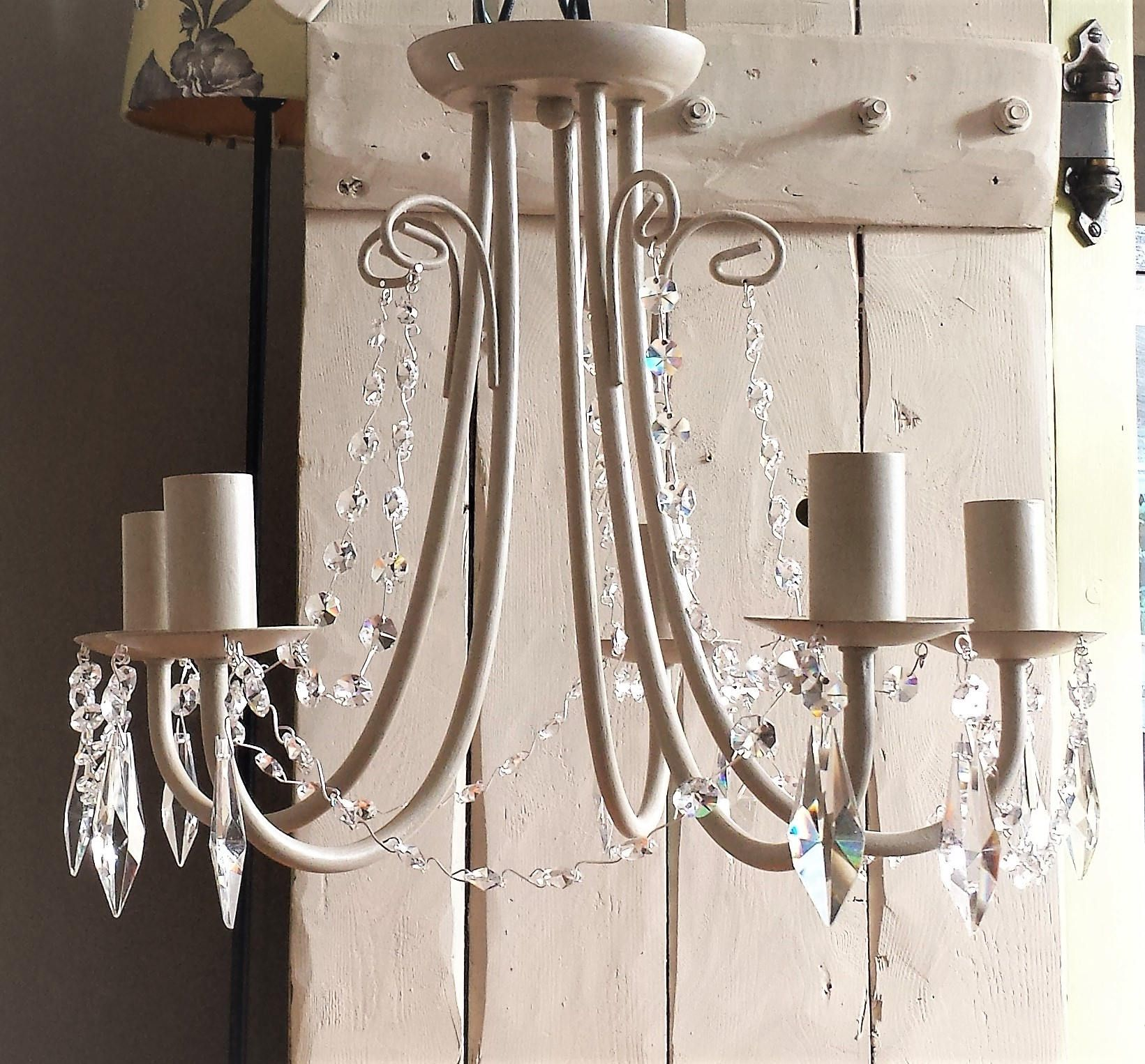 Chandelier vintage crystal lighting fixture flush ceiling light farmhouse lighting country grey uk usa europe matching candle drips by