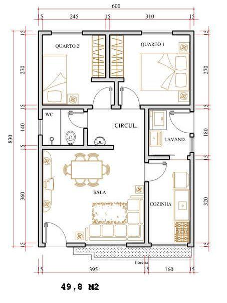 Resultado de imagen para kitnet projeto planta plantas for Casa moderna minimalista interior 6m x 12 50 m