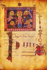 The key role in the decor of the folio is assigned to the headpiece representing The Ascension. The artist chooses a laconic version of the scene based on an archaic iconographic canon. The mandorla with Christ in the centre of the composition is supported by four angels who are the only witnesses of the miracle: neither the Virgin nor the apostles are present.�Nyckelrollen hos dekoren hos sidan finns i överstycket som representerar Kristi Himmelsfärd. Konstnären har valt en laktonisk…