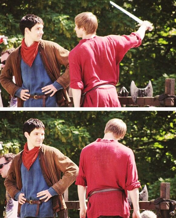"Merlin behind the scenes... lol. bradley: ""look at me sword!"" colin: ""yeah, so?"" bradley: *hangs head* ""you're not impressed are you"" colin: ""nope."""