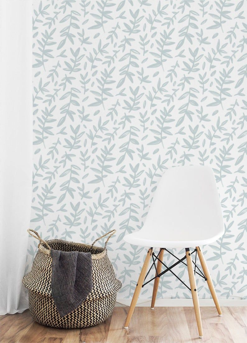 Leaf Branches Removable Wallpaper 515 Etsy In 2021 Removable Wallpaper Nursery Wallpaper Botanical Wallpaper