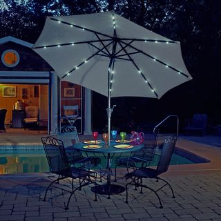 Solar Lights For Patio Umbrellas Cool Trademark Innovations 9Feet Deluxe Solar Powered Led Lighted Tan Design Inspiration