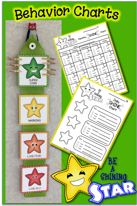 Behavior Calendar Kindergarten : Shining star behavior charts calendars rewards