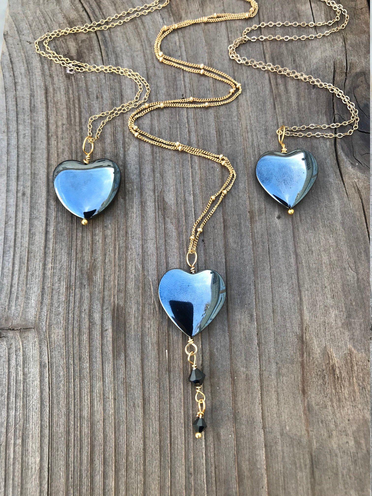 Photo of Chakra Jewelry / Hematite / Hematite Heart Necklace / Hematite Pendant / Hematite Heart / Reiki Jewelry / Gold Filled