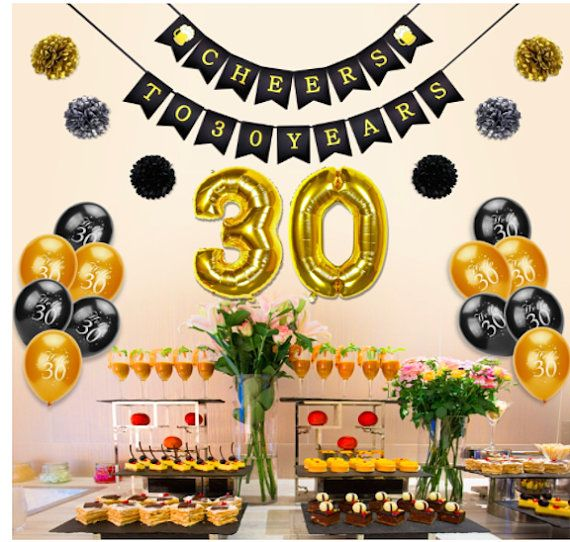 30th Birthday Decoration Cheers To 30 Banner Number Foil Balloons Hello Black Gold Tissue Paper Pom Poms Years Old Party Favors